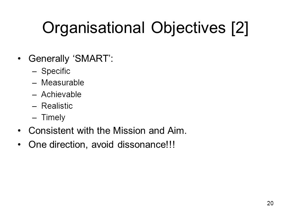 Organisational Objectives [2]